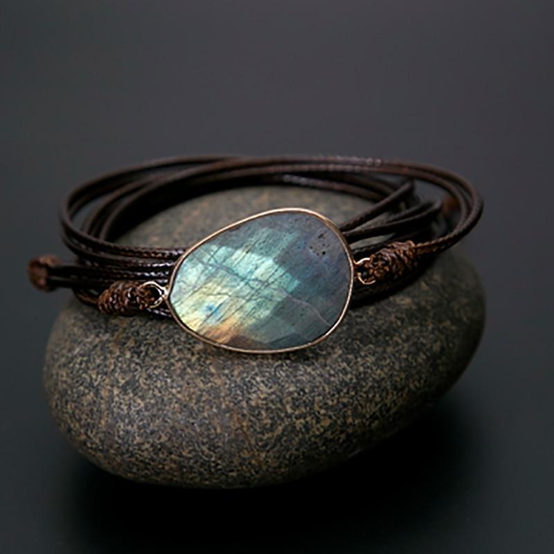 Braided Bracelet Labradorite BEIGE Minimalist Bracelet Silk