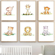 Lion Giraffe Elephant Bear Tiger Hippo Animals Nordic Posters And Prints Wall Art Print Canvas Painting Pictures Kids Room