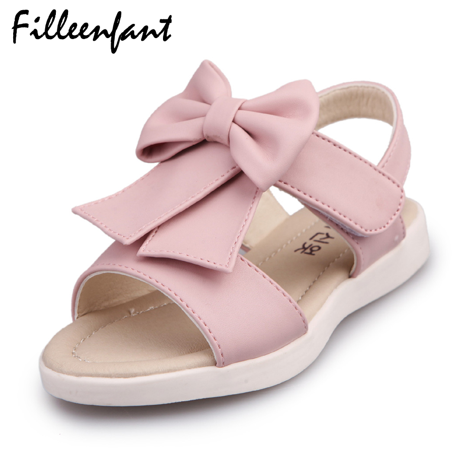 Baby Girl Sandals Fashion Summer Shoes Korean Fashion Sweet Kids Sandals Bow Tie Soft Leather