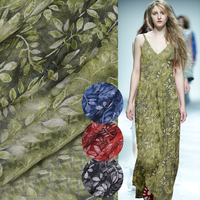 American Style Green Red Blue Black Leaves Print 100 Natural Silk Crepe Chiffon Fabric For Dress