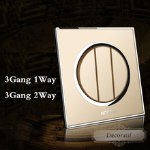 цены Champagne gold switch socket panel Switch panel wall switch 3Gang 1Way 2Way fluorescence switch