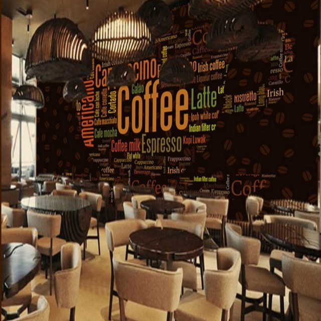 Wallpaper 3d english alphabet mural coffee cup decoration for Como montar una cafeteria