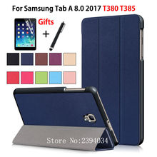 Ultra Slim Magnetic Case for Samsung Galaxy Tab A 8.0 T380 T385 2017 8.0 inch Smart Cover Funda Tablet PU Stand Case +Film+Pen