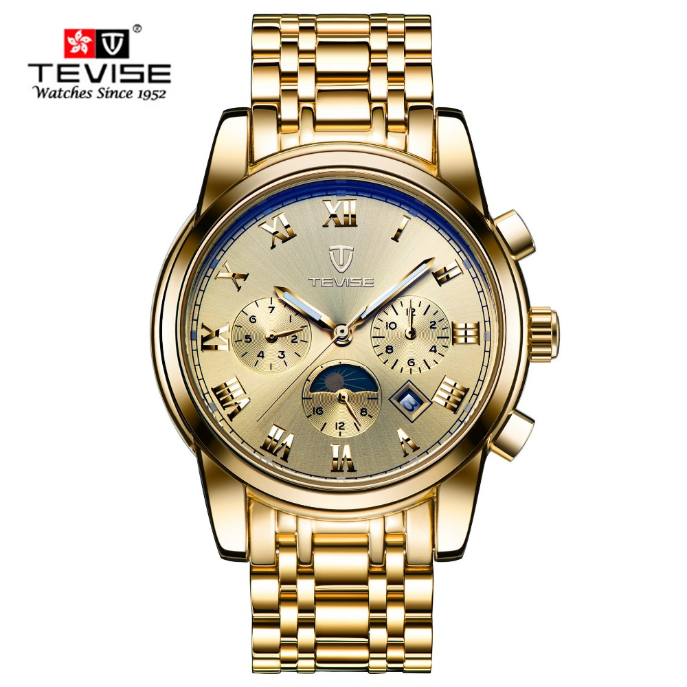 TEVISE new Automatic mechanical watches men casual waterproof wristwatch Moon Phase Steel brand Gold watch for male hour montre tevise fashion auto date automatic self wind watches stainless steel luxury gold black watch men mechanical t629a with tool
