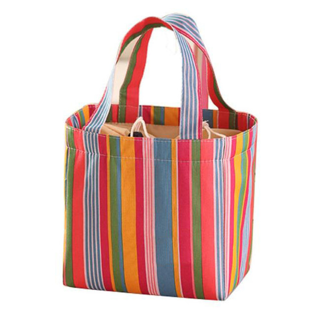 Xiniu Womens Lunch Bag Stripped Picnic Food Bags Picknick Oxford Container Lancheiras Menina