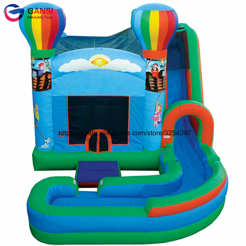 Free air blower bouncy jumping castle house with long slide inflatable trampoline bouncer custom color inflatable bouncy house