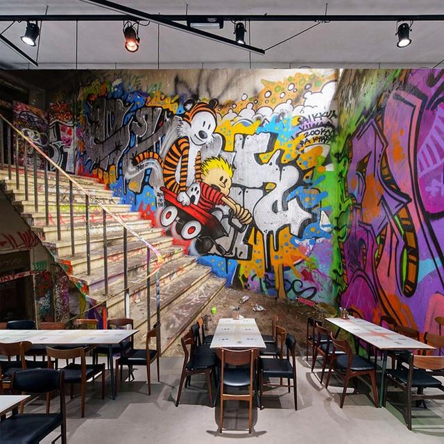 3d Stereoscopic Mural Wallpaper Custom Any Size Modern Fashion Street Art Graffiti