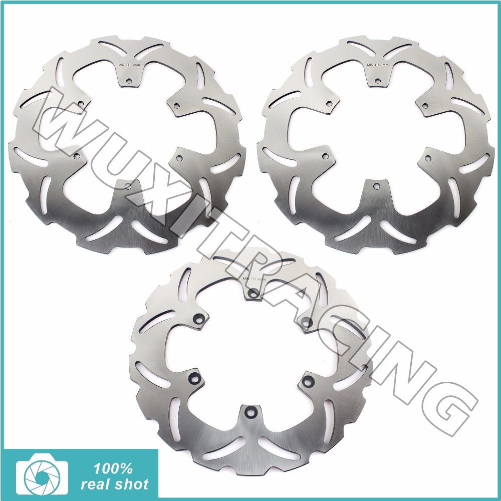 3Pcs Full Set Front Rear Brake Discs Rotors for KTM 950 990 ADVENTURE R S LC8 0607 08 09 10 11 12 950 SUPER ENDURO R 2006-2008 full set front rear brake discs disks rotors pads for suzuki gsxr 750 94 95 gsx r 1100 p r s t 1993 1994 1995 1996