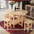 Solid Pine Wood Semi-Circle Fold-able Coffee Dining Table With Four Chairs (NO Drawers) Simple Fashion Multi Purpose Table
