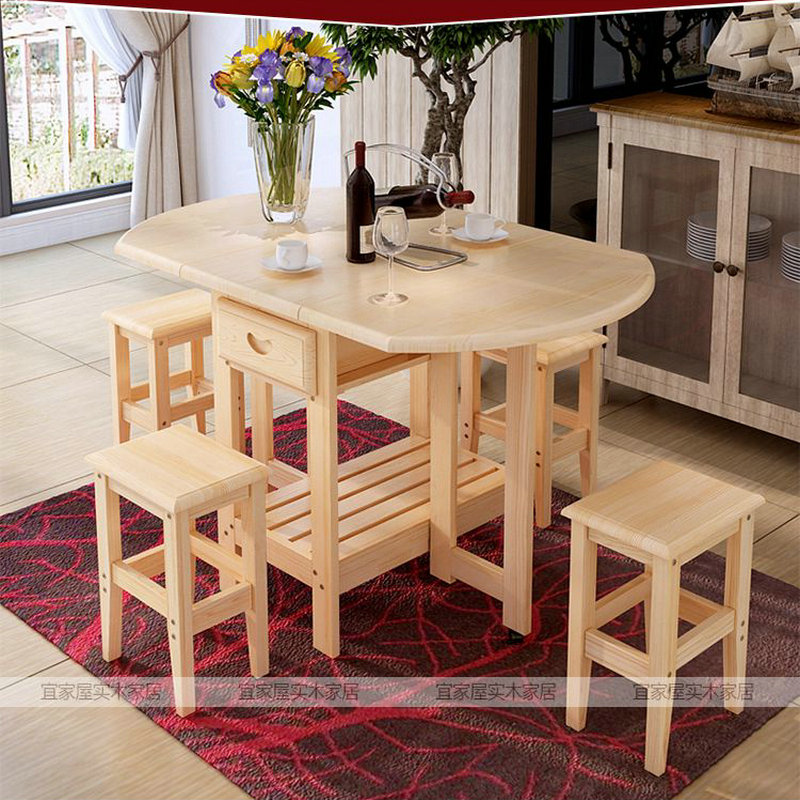 Solid Pine Wood Semi Circle Fold Able Coffee Dining Table With Four Chairs NO Drawers Simple Fashion Multi Purpose