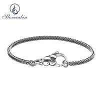 Slovecabin Original 925 Sterling Silver Basic Lock Chain Men Women Charm Bracelets Homme For Christmas Gift
