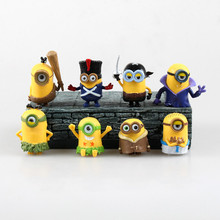 Movie Figure 4CM 8pcs/set Despicable Me Minion 3D Eyes Minion Jorge Stewart Dave Mini PVC Action Figures Toys Model Collectibles