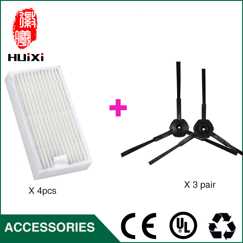 4pcs HEPA Filter +3 Pair Cleaning Side Brush to Cleaning Dust with High Efficient for X500 KK8 CR120 CEN540 Robot Vacuum Cleaner cheapest 1pcs cleaning mopping cloth 3 pair hepa filter 3 pair cleaner side brush for dt85 dt83 dm81 vacuum cleaner for house