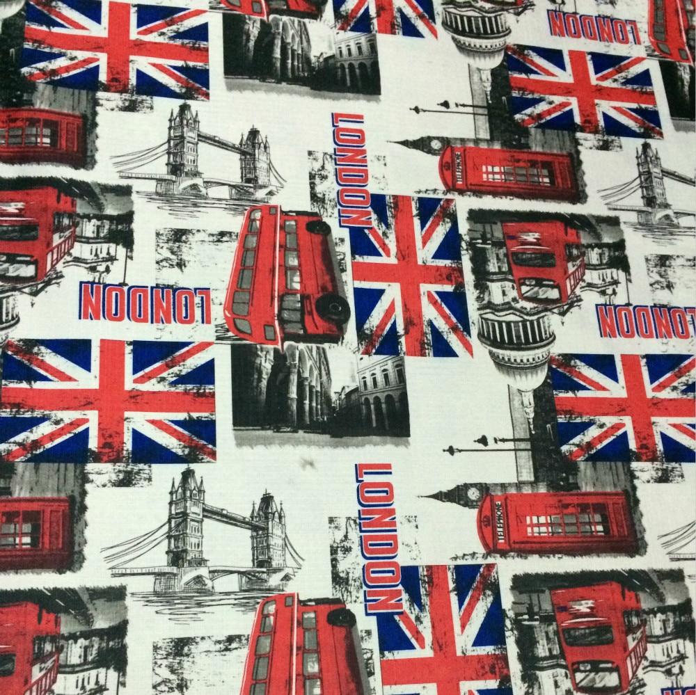 100x140cm Union Jack Big Ben Cotton Linen Fabrics For Sewing
