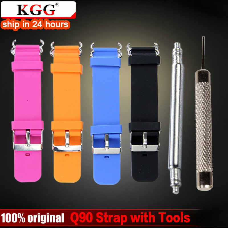 KGG Smart Watch Strap Kit with 2pcs Spring Bar Connection and Tool for Q90 Children's GPS Tracker Watchband Silicone Wrist Strap