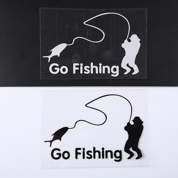 White Fisherman Fishing Art Auto Window Fishing Car Sticker Body Vinyl Decal image