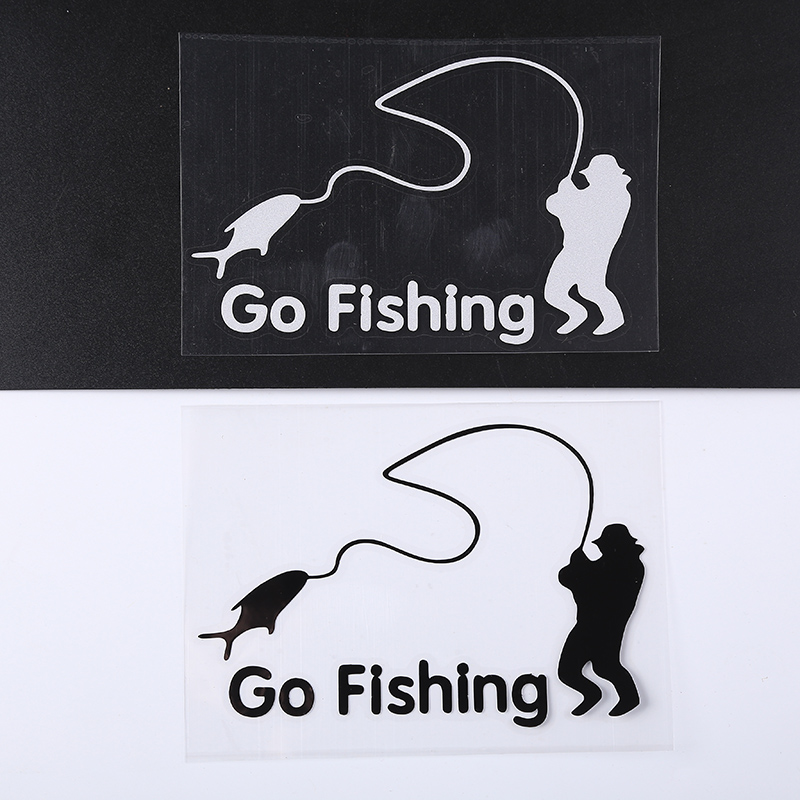 White Fisherman Fishing Art Auto Window Fishing Car Sticker Body Vinyl Decal
