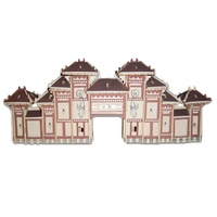 wooden 3D building model toy gift puzzle woodcraft construction kit China HaiNan NanShan Cultural tourist area Buddhism gate 1pc