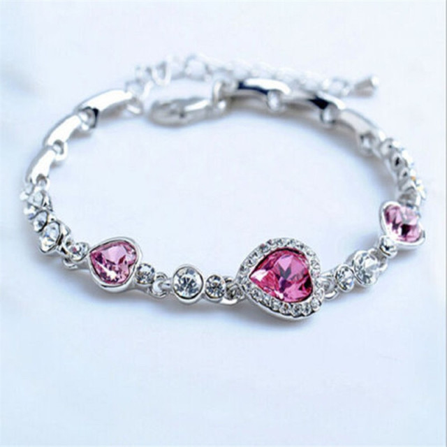 Fatpig Style Chic Charming Elegant Women Lady Ocean Red Crystal Heart Bangle Bracelet