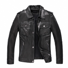 Leather Jacket Men Short Casual Jacket Motorcycle Jacket Rider Outerwear Black Color Leather Jacket TJ31
