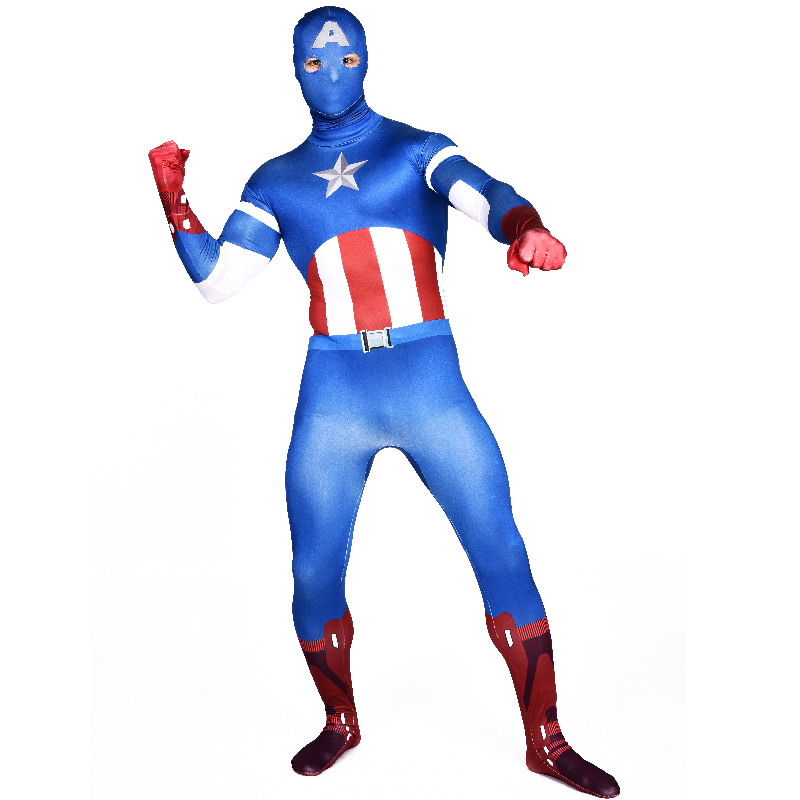 High Quality Adult Spandex Avenger Captain America Cosplay Costumes men  Lycra Zentai Movie Superhero Costume for Halloween