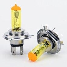 2 قطعة H4 الضباب مصابيح كهربائية 12V مصابيح كهربائية سوبر وايت المصابيح الأمامية مصابيح كهربائية الذهب والأبيض