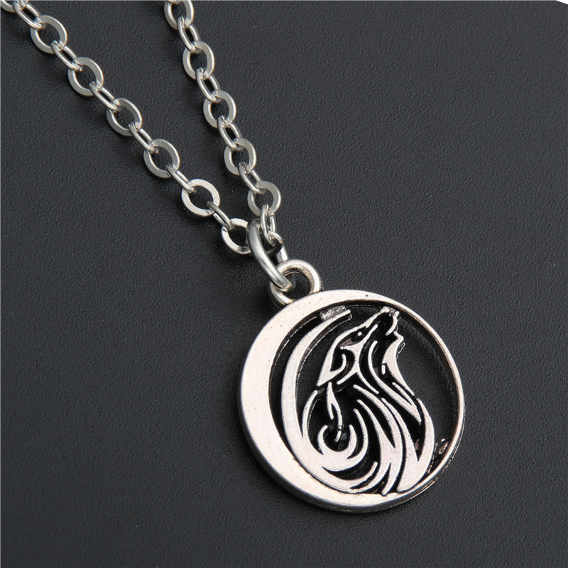 1pc Silver Wolf charms pendant Necklace Howl Moon Animal Jewelry Gift For Men E178 Ювелирное изделие
