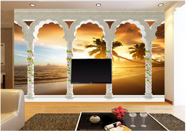Custom landscape wallpaper, 3D Rome column sunrise sea view for the living room bedroom TV background wall papel de parede  free shipping 3d stereo angel rome column fantasy wallpaper mural custom dining room children room background wallpaper
