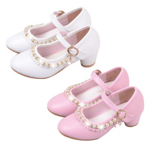 2019 Summer Children Party Leather Shoes Girls PU Mid Heel Pearl Kids For Wedding Parity Dance Dress Shoe  P25