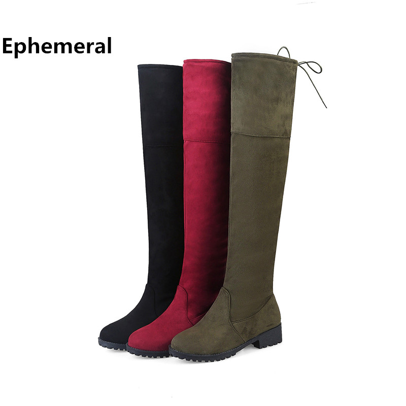 Women's shoes with zippers long boots over the knee botas femininas de inverno winter fur round toe low heel pumps big size 15 9 shoes woman fashion motocicleta mulheres martin outono inverno botas de couro boots femininas botas women boots canvas 9302