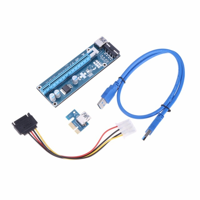 VAKIND PCI-E PCIE PCI Express Riser Card 1x To 16x With 60cm USB3.0 Cable And SATA 4pin IDE molex Power Cable For Mining Machine
