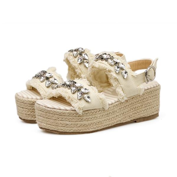 Boussac Kristall Frauen Sandalen Slingback Fischer Espadrilles Sandalen Strass Plattform Sandalen Frauen Sommer Schuhe Swc0200 Sparen Sie 50-70%
