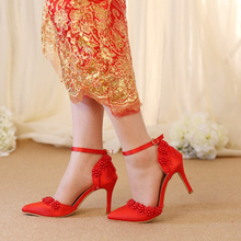 Wedding Sandals Red Satin Middle Heel Sexy Bridal Dress Shoes Pearl Buckle Strap Women Pumps Pointed