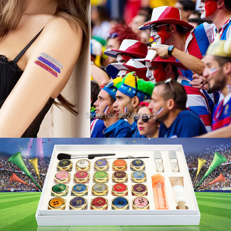 2017 New High Quality 20 Colors Flocking Powder Tattoo set for Body Art Temporary Tattoo Brushes Glue Stencils Free Shipping
