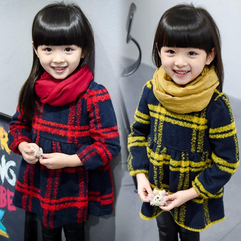 autumn winter new fashion 2-9 years old girls thicken dress baby round collar fleece child plaid clothes children clothing