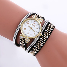 New Fashion Punk Bracelet Watches Women Luxury Crystal Leather Wrist Watches For Women Ladies Quartz Watch Clock zegarki damskie