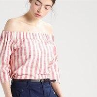 2017 European Style Women Elastic Slash Neck Three Quarter Sleeve T Shirts Off Shoulder Vertical Striped