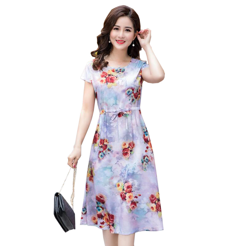 2018 Summer Middle Aged Women Print Loose Dress O-Neck Short Sleeve Mothers Casual Dresses fashion Plus Size XL-4XL long dress
