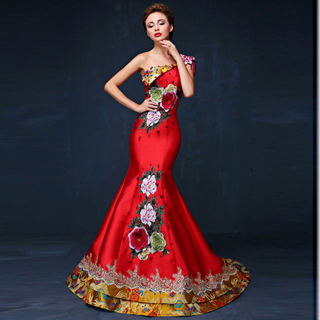 Mermaid Evening Dress 2016 Elegant Luxury Embroidery Qipao Chinese ...