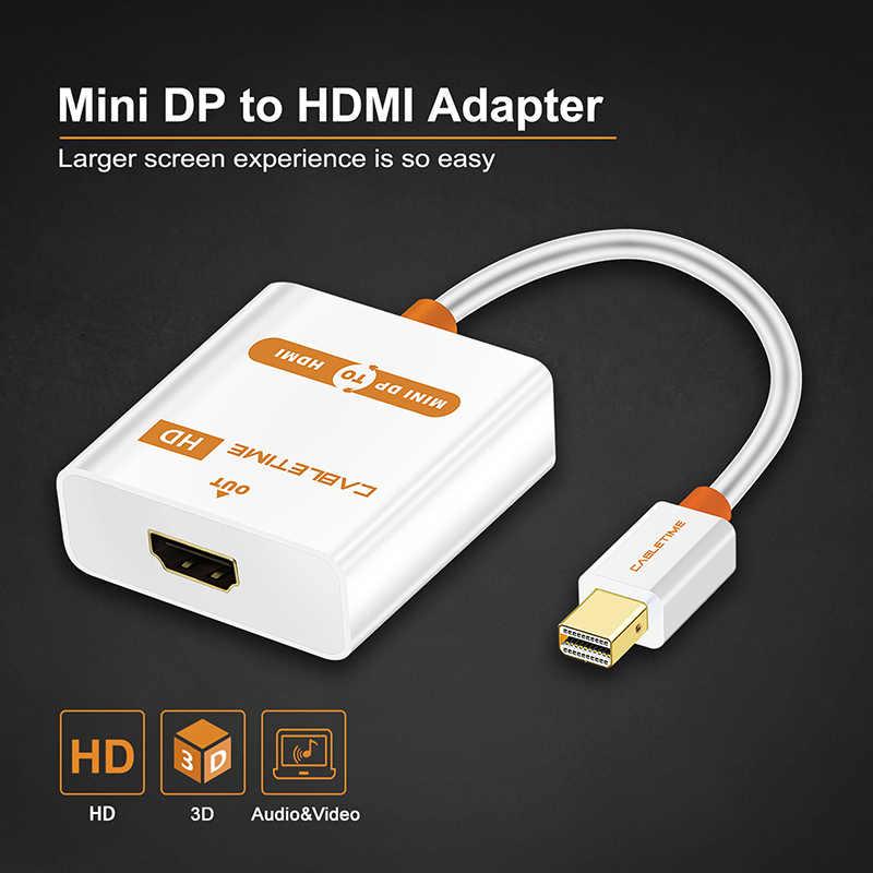 CABLETIME Thunderbolt Mini DP إلى HDMI نشط محول M/F Mini ديسبلايبورت كابل وصلة بينية مُتعددة الوسائط وعالية الوضوح لجهاز كمبيوتر صغير هوائي ماك بوك برو iMac العارض C065