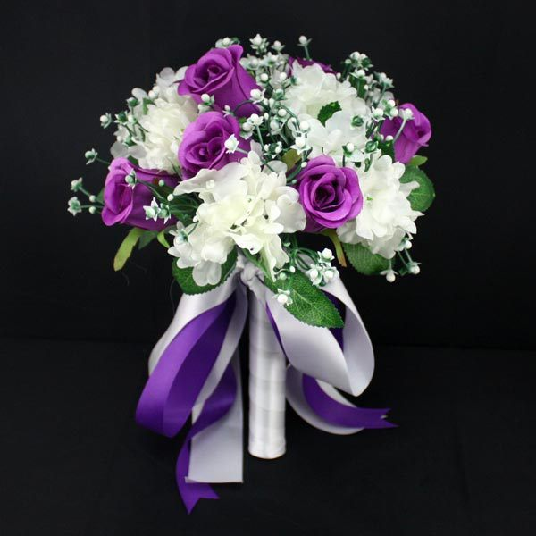 Purple Lavender Artificial Bridal Bouquets Bruidsboeket Bridesmaid Wedding Flower Accessoires De Mariage Blanc