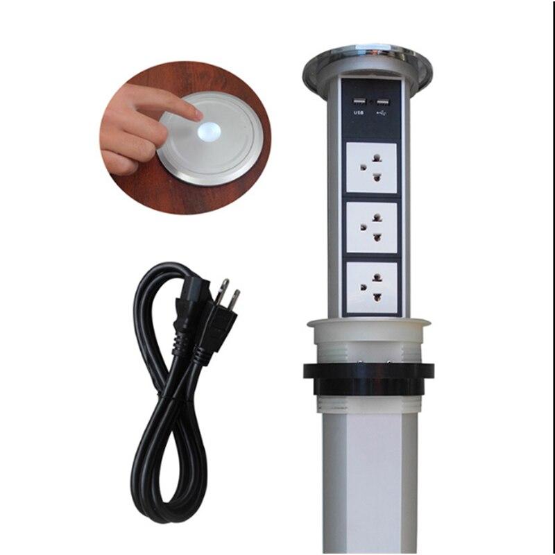 Сенсорный экран/Автоматическая электрическая подъемная розетка кухонная скрытая розетка умная многофункциональная USB зарядка Настольная