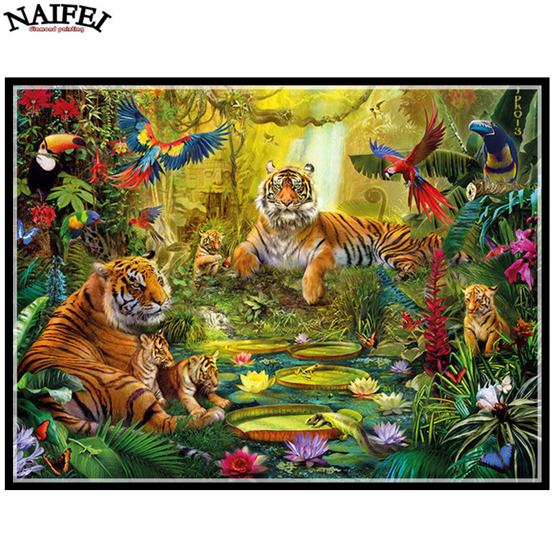 Arts,crafts & Sewing Needle Arts & Crafts Happy Tiger Diamond Painting Cross Stitch Crafts Diamond Mosaic Square Full Unfinished Embroidery Animal Decorative Pictures