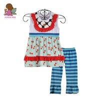 New Design Lovely Kids Clothing Girls Print Top With Bib Button Blue Ruffle Pants Summer Girls