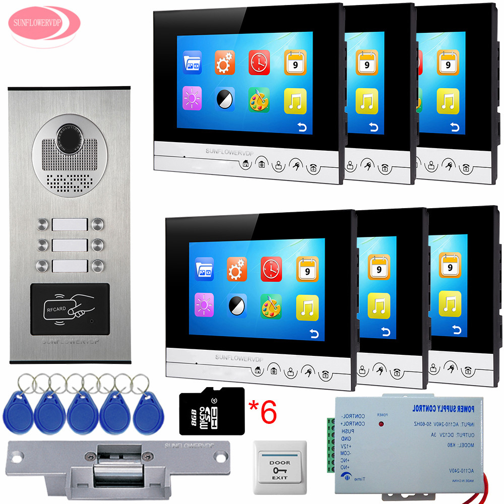 For 6 apartments Video Intercom With Video Recording Free 8 GB TF Cards+6 Keys RFID Access Door Camera With Electric Strike Lock 3 monitors 7 video intercom with reording 8gb tf memory cards intercom door rfid camera for 3 apartments electric strike lock
