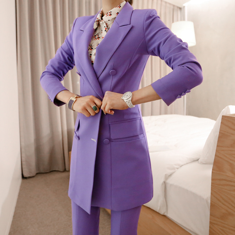 New Arrival Women Professional Temperament Double Breasted Fashion Long Solid Suit Work Style Slim Pant Comfortable Pant Suits