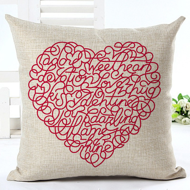 2016 Houseware Valentine 39 s Day Decor Home Decor Cojines Heart Printed Sofa Pillow Throw Linen Cotton Pillow Cushion Almofadas in Cushion from Home amp Garden