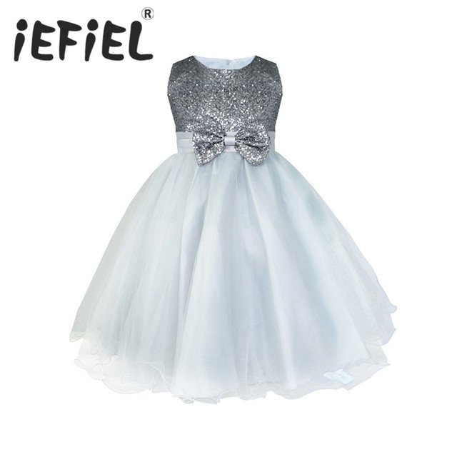 ecd3a868408 Kids Infant Girls Flower Dress Wedding Bridesmaid Birthday Party Pageant Princess  Formal Dress Sequined Bow Tulle