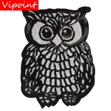 embroidery sequins owl patches for jackets,birds badges for jeans,appliques for backpack A278 embroidery round birds patches for jackets fish badges for jeans appliques a133