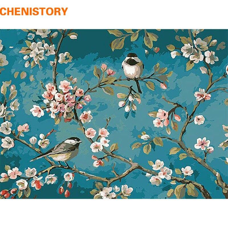 CHENISTORY Oiseau Sur La Fleur Arbre BRICOLAGE Peinture Numérique Par Les Kits de Nombres Acrylique Couleur Dessin Par Numéros Pour Les Enfants Unique cadeau